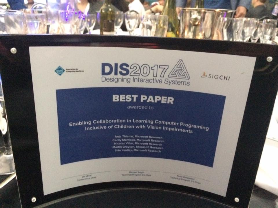 Image of the physical best paper award