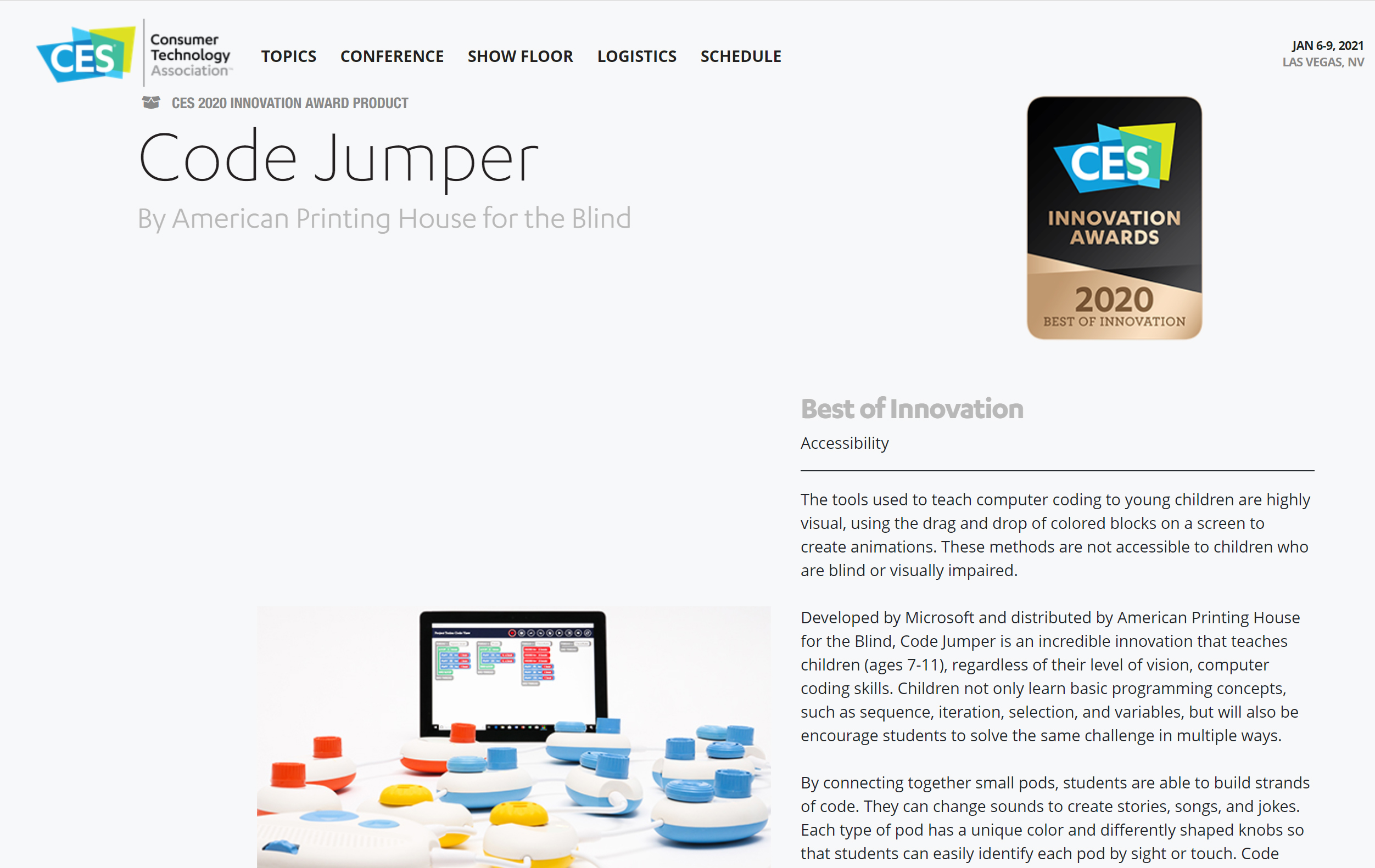 Screenshot of the CES 2020 awards page