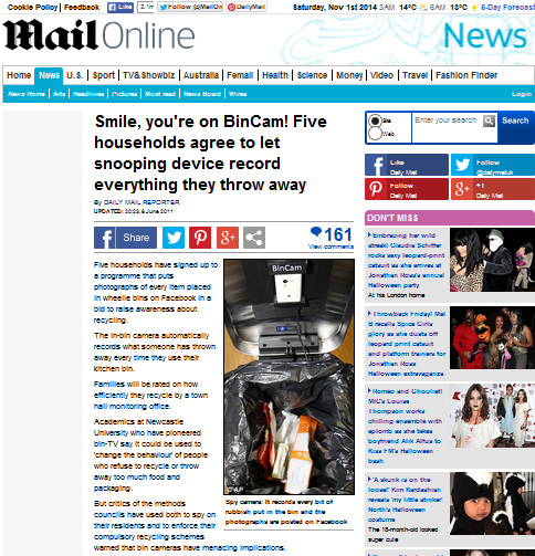 Screenshot of dailymail article on BinCa,