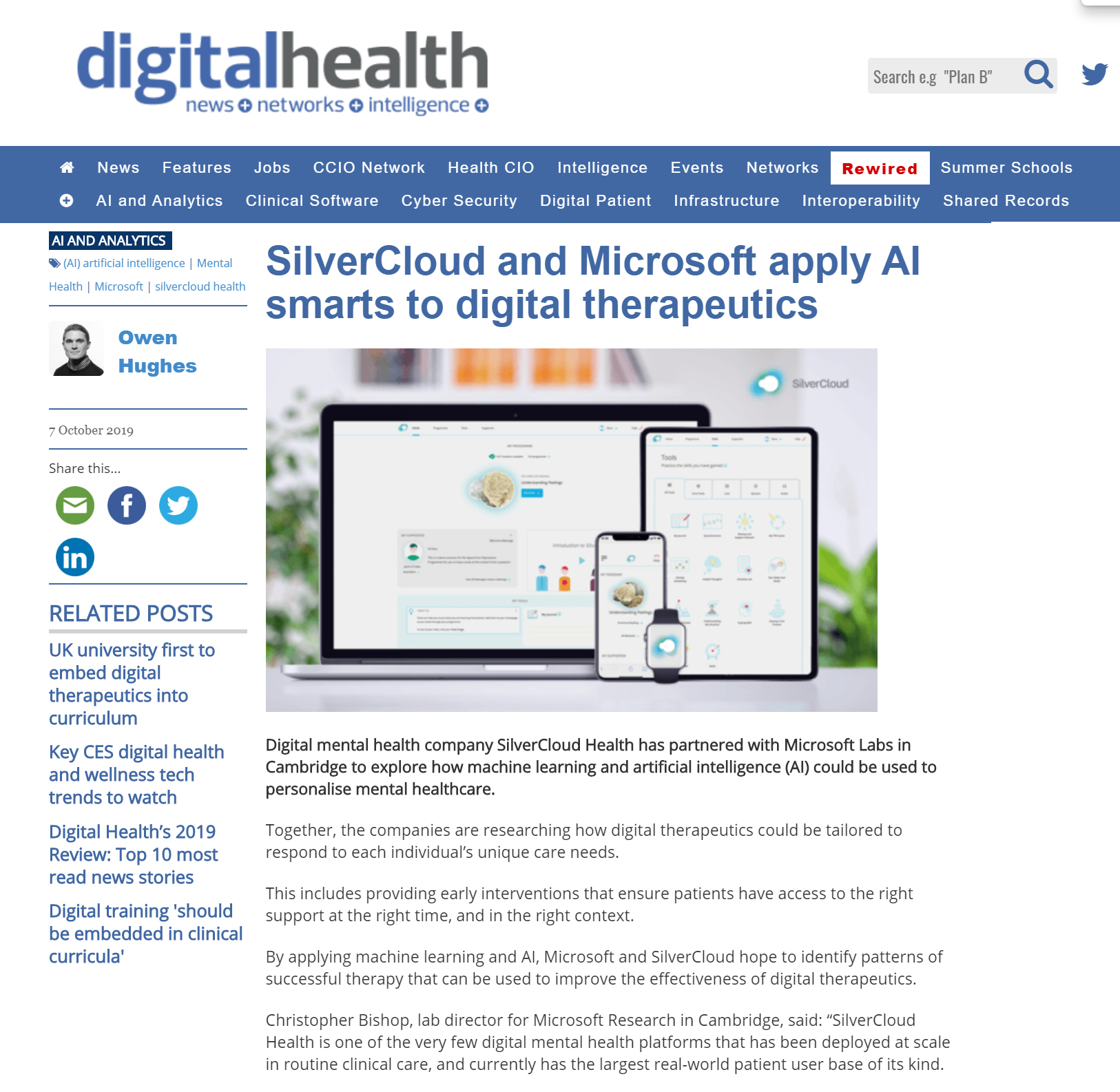 Screenshot of the digital health article about Project Talia
