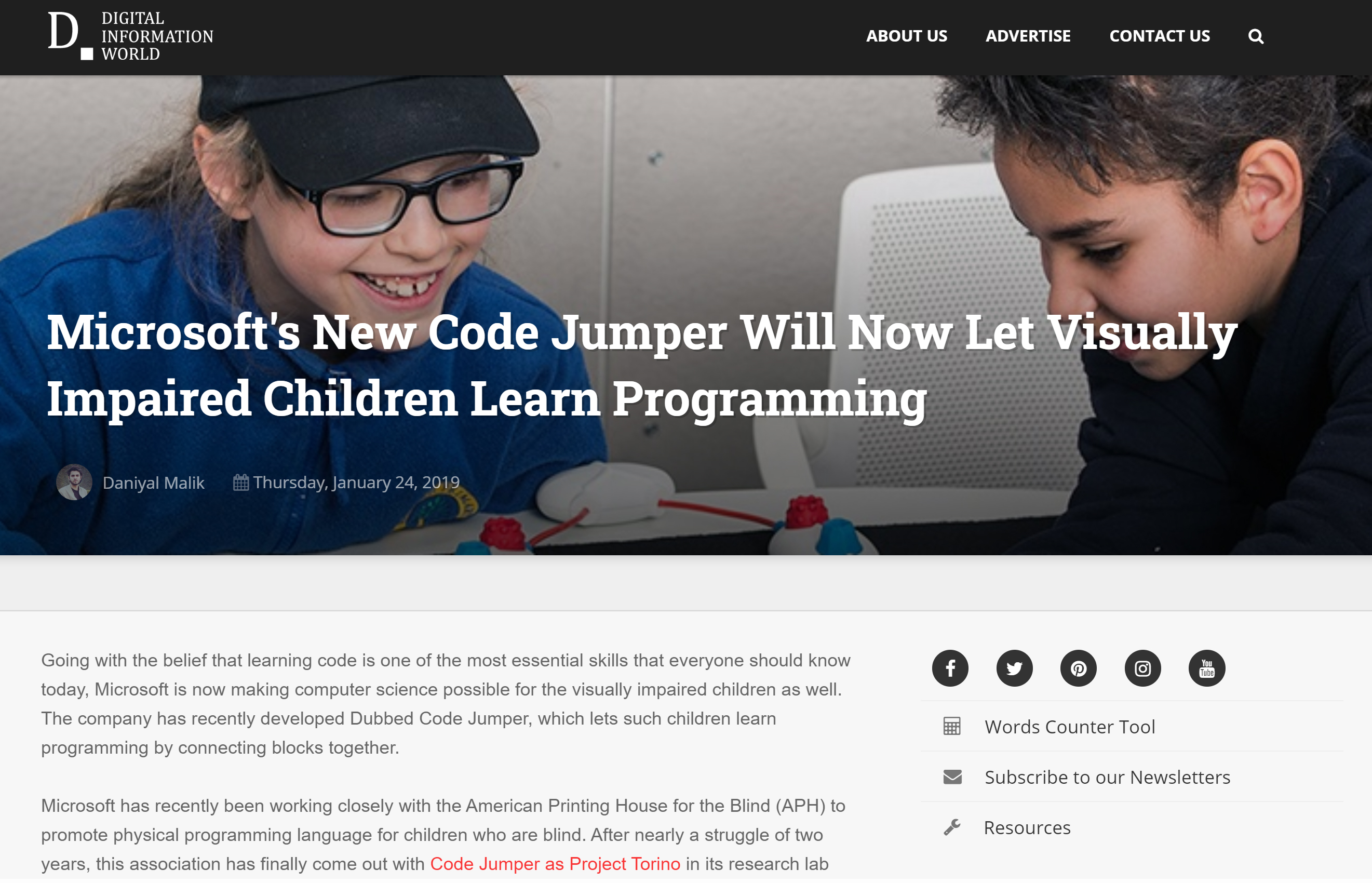 Screenshot of the digital inforamtion world article about Code Jumper