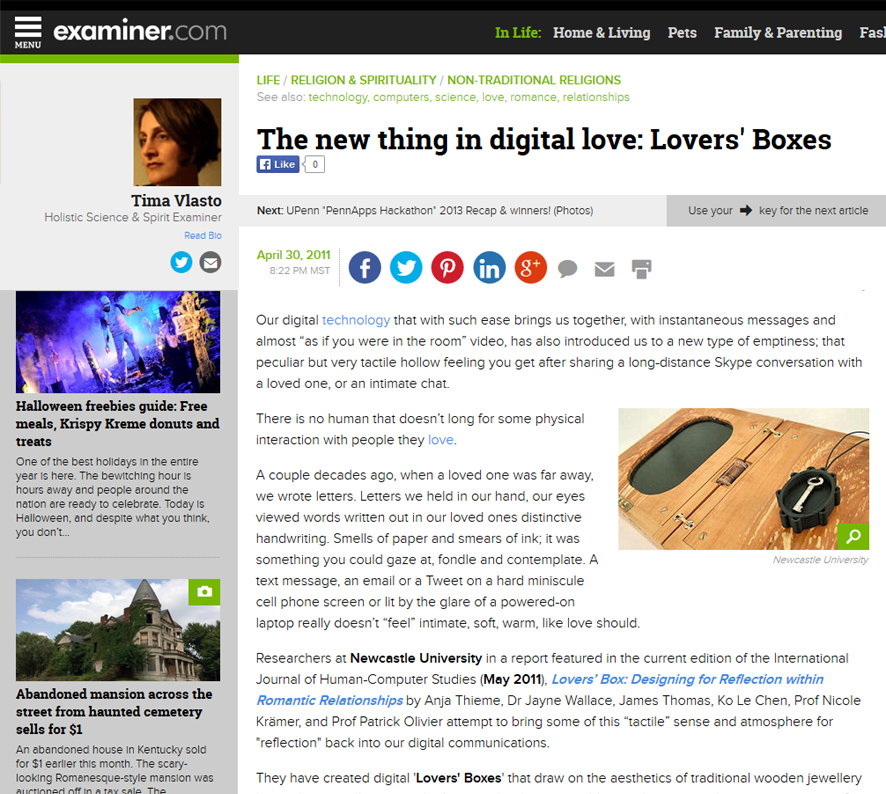 Screenshot of Examiner article on the Lovers' Box