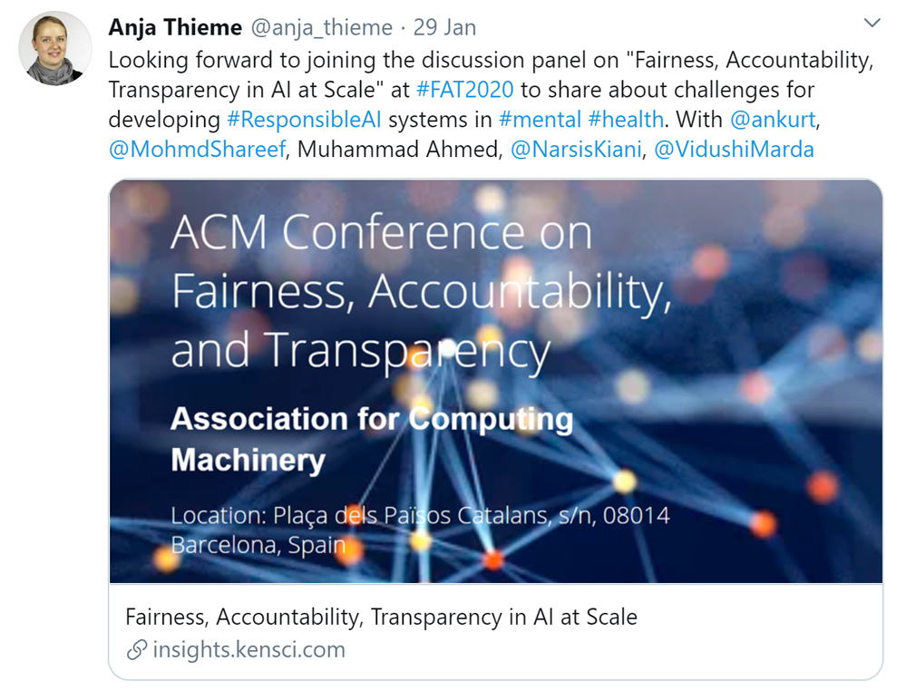 Screenshot of a tweet that I posted advertising the discussion panel during the fat*2020 conference