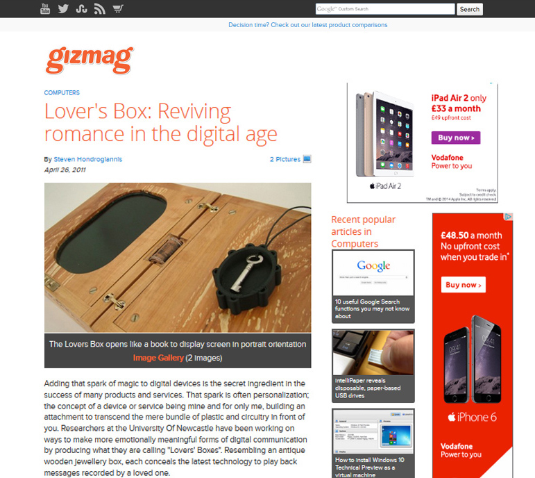 Screenshot of the Gizmag article on the Lovers' Box