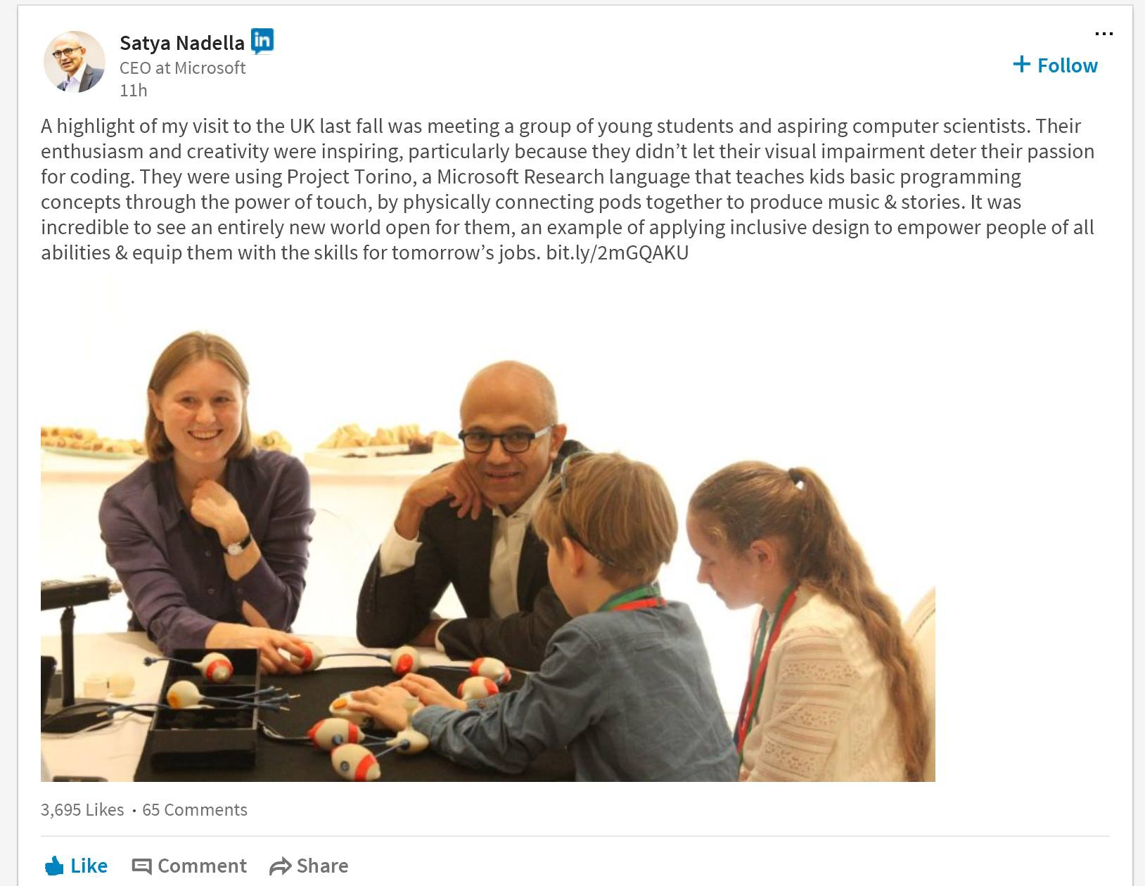 Image of Satya Nadella learning about Project Torino