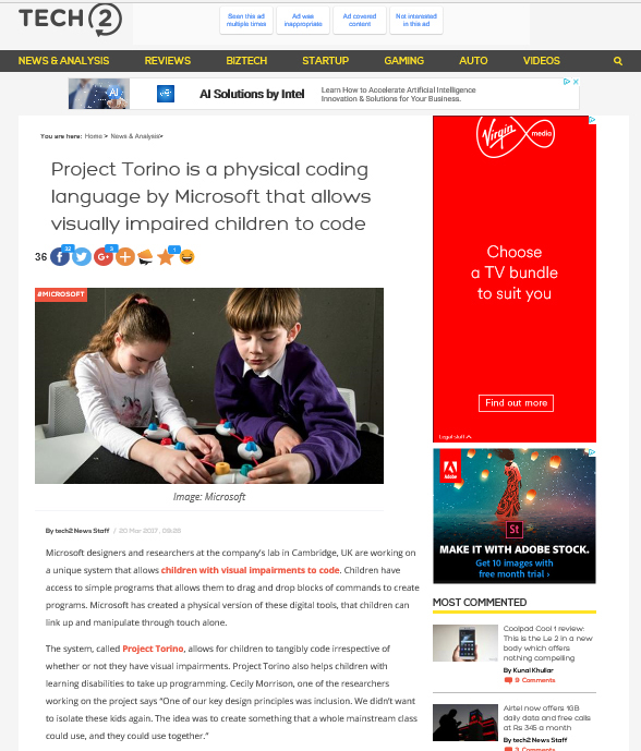 Screenshot of the tech2 article on project torino