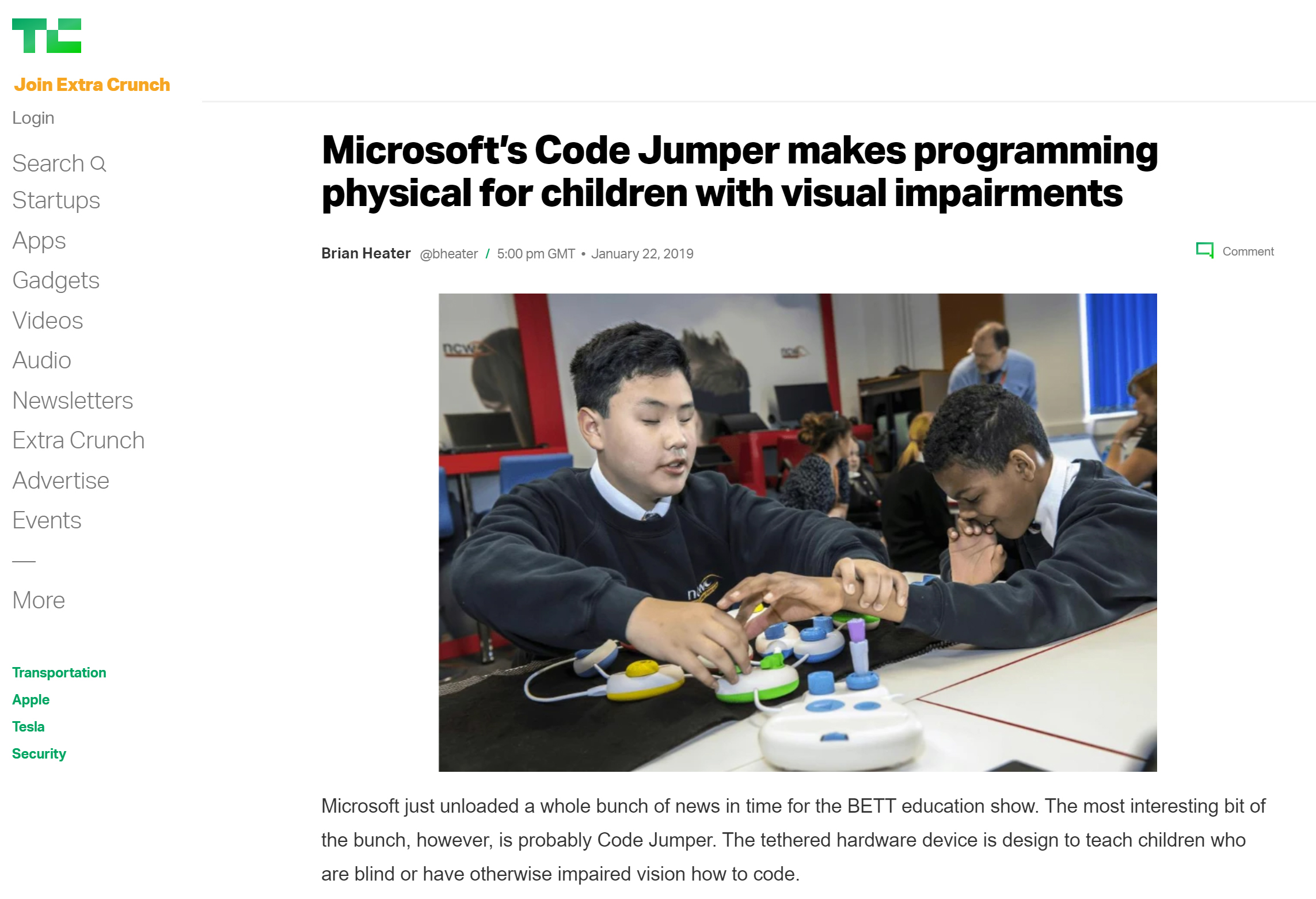 Screenshot of the techcrunch article about Code Jumper