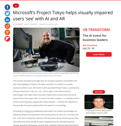 Screenshot of the vb news article about project tokyo