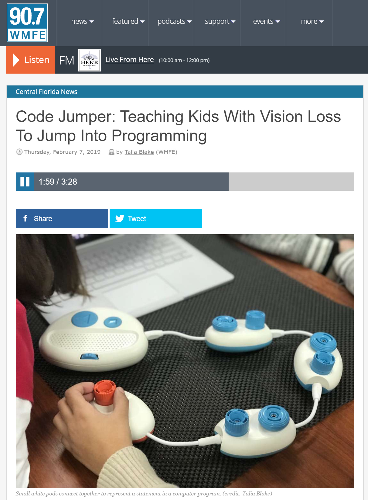 Screenshot of the wmfe article about Code Jumper